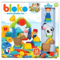 Set de construit BLOKO Tepi 52 piese cu trei figurine, cal, vacuta si omulet STEM Education