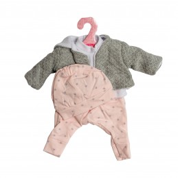 Hainute pentru papusi de buc 33 cm, bluzita alba, bolero gri, pantalonasi si caciulita roz cu stelute gri @ Antonio Juan